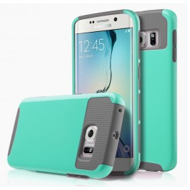 Samsung Galaxy S6 Case, Dual Layer Shockproof Silicone Phone Protection Case TPU Hybrid Slim Fit Cover With  [Premium Screen Protector] And Touch Screen Pen (Teal)