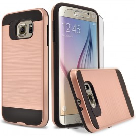 Samsung Galaxy S6 Case, 2-Piece Style Hybrid Shockproof Hard Case Cover with [Premium Screen Protector] Hybird Shockproof And Circlemalls Stylus Pen (Rose Gold)