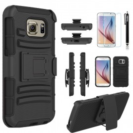 Samsung Galaxy S6 Case, Dual Layers [Combo Holster] Case And Built-In Kickstand Bundled with [Premium Screen Protector] Hybird Shockproof And Circlemalls Stylus Pen (Black)