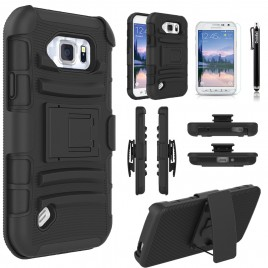 Samsung Galaxy S6 Active Case, Dual Layers [Combo Holster] Case And Built-In Kickstand Bundled with [Premium Screen Protector] Hybird Shockproof And Circlemalls Stylus Pen (Black)