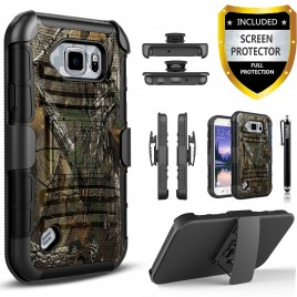 Samsung Galaxy S6 Active Case, Dual Layers [Combo Holster] Case And Built-In Kickstand Bundled with [Premium Screen Protector] Hybird Shockproof And Circlemalls Stylus Pen (Camo)
