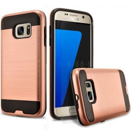Samsung Galaxy S6 Edge Plus Case, 2-Piece Style Hybrid Shockproof Hard Case Cover with [Premium Screen Protector] Hybird Shockproof And Circlemalls Stylus Pen (Rose Gold)