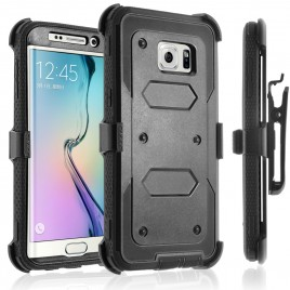 Samsung Galaxy S6 Case, [SUPER GUARD] Dual Layer Protection With [Built-in Screen Protector] Holster Locking Belt Clip+Circle(TM) Stylus Touch Screen Pen (Black)