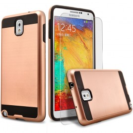 Samsung Galaxy Note 3 Case, 2-Piece Style Hybrid Shockproof Hard Case Cover with [Premium Screen Protector] Hybird Shockproof And Circlemalls Stylus Pen (Rose Gold)