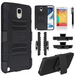 Samsung Galaxy Note 3 Case, Dual Layers [Combo Holster] Case And Built-In Kickstand Bundled with [Premium Screen Protector] Hybird Shockproof And Circlemalls Stylus Pen (Black)