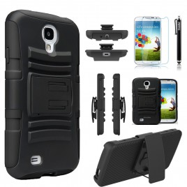 Samsung Galaxy S4 Active Case, Dual Layers [Combo Holster] Case And Built-In Kickstand Bundled with [Premium Screen Protector] Hybird Shockproof And Circlemalls Stylus Pen (Black)