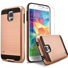 Samsung Galaxy S5 Case, 2-Piece Style Hybrid Shockproof Hard Case Cover with [Premium Screen Protector] Hybird Shockproof And Circlemalls Stylus Pen (Rose Gold)