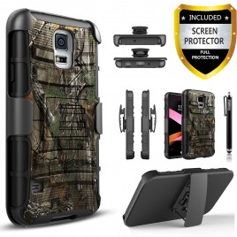 Samsung Galaxy S5 Case, Dual Layers [Combo Holster] Case And Built-In Kickstand Bundled with [Premium Screen Protector] Hybird Shockproof And Circlemalls Stylus Pen (Camo)