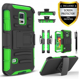 Samsung Galaxy S5 Case, Dual Layers [Combo Holster] Case And Built-In Kickstand Bundled with [Premium Screen Protector] Hybird Shockproof And Circlemalls Stylus Pen (Green)
