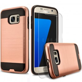 Samsung Galaxy S7 Case, 2-Piece Style Hybrid Shockproof Hard Case Cover with [Premium Screen Protector] Hybird Shockproof And Circlemalls Stylus Pen (Rose Gold)