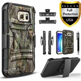 Samsung Galaxy S7 Case, Dual Layers [Combo Holster] Case And Built-In Kickstand Bundled with Hybird Shockproof And Circlemalls Stylus Pen (Camo)