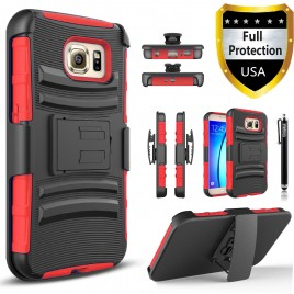 Samsung Galaxy S7 Case, Dual Layers [Combo Holster] Case And Built-In Kickstand Bundled with Hybird Shockproof And Circlemalls Stylus Pen (Red)