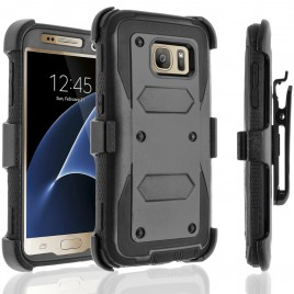 Samsung Galaxy S7 Case, [SUPER GUARD] Dual Layer Protection With [Built-in Screen Protector] Holster Locking Belt Clip+Circle(TM) Stylus Touch Screen Pen (Black)