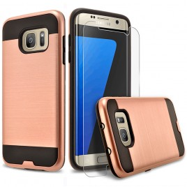 Samsung Galaxy S7 Edge Case, 2-Piece Style Hybrid Shockproof Hard Case Cover with [Premium Screen Protector] Hybird Shockproof And Circlemalls Stylus Pen (Rose Gold)