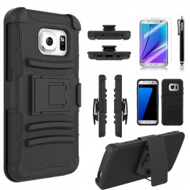 Samsung Galaxy S6 Edge Plus Case, Dual Layers [Combo Holster] Case And Built-In Kickstand Bundled with Hybird Shockproof And Circlemalls Stylus Pen (Black)