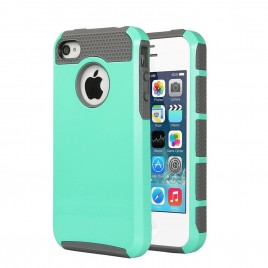 iPhone 4, iPhone 4S Case, Dual Layer Shockproof Silicone Phone Protection Case TPU Hybrid Slim Fit Cover With  [Premium Screen Protector] And Touch Screen Pen (Teal)