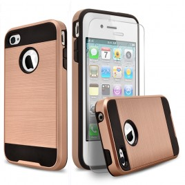 iPhone 4, iPhone 4S Case, 2-Piece Style Hybrid Shockproof Hard Case Cover with [Premium Screen Protector] Hybird Shockproof And Circlemalls Stylus Pen (Rose Gold)