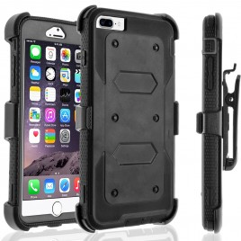 iPhone 8 Case, [SUPER GUARD] Dual Layer Protection With [Built-in Screen Protector] Holster Locking Belt Clip+Circle(TM) Stylus Touch Screen Pen (Black)