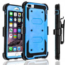 iPhone 8 Case, [SUPER GUARD] Dual Layer Protection With [Built-in Screen Protector] Holster Locking Belt Clip+Circle(TM) Stylus Touch Screen Pen (Blue)