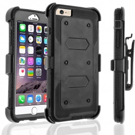 iPhone 7 Case, [SUPER GUARD] Dual Layer Protection With [Built-in Screen Protector] Holster Locking Belt Clip+Circle(TM) Stylus Touch Screen Pen (Black)