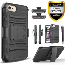 iPhone 7 Case, Dual Layers [Combo Holster] Case And Built-In Kickstand Bundled with [Premium Screen Protector] Hybird Shockproof And Circlemalls Stylus Pen (Black)