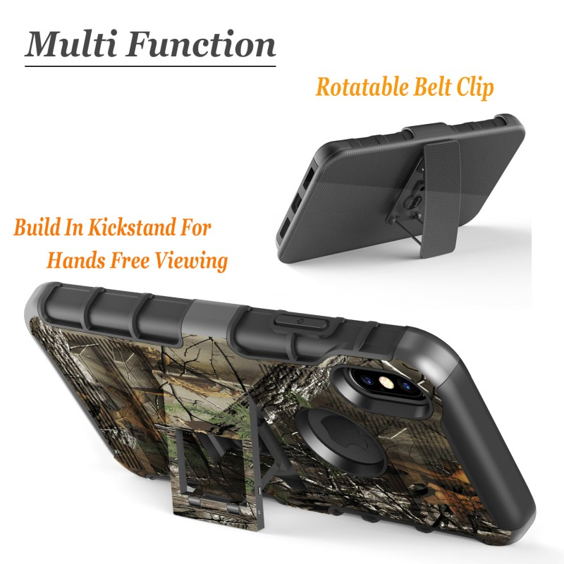 iPhone X Case, Dual Layers [Combo Holster] Case And Built-In Kickstand Bundled with Hybird Shockproof And Circlemalls Stylus Pen (Camo)