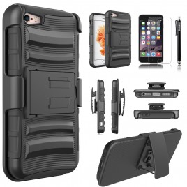 iPhone 5C Case, Circlemalls Dual Layers [Combo Holster] And Built-In Kickstand Bundled With [Premium Screen Protector] Hybird Shockproof And Stylus Pen For iPhone 5C (Black)