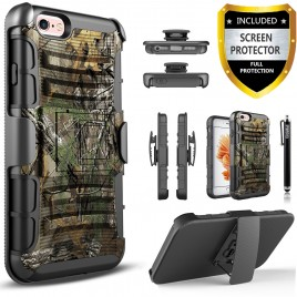 iPhone 5C Case, Circlemalls Dual Layers [Combo Holster] And Built-In Kickstand Bundled With [Premium Screen Protector] Hybird Shockproof And Stylus Pen For iPhone 5C (Camo)