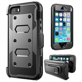 iPhone 5 Case, iPhone 5S Case, [SUPER GUARD] Dual Layer Hybrid Protective Cover With [Built-in Screen Protector] Holster Locking Belt Clip+Circle(TM) Stylus Touch Screen Pen And Screen Protector (Black)