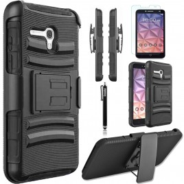 Alcatel OneTouch Fierce XL Case, Dual Layers [Combo Holster] Case And Built-In Kickstand Bundled with [Premium Screen Protector] Hybrid Shockproof And Circlemalls Stylus Pen (Black)