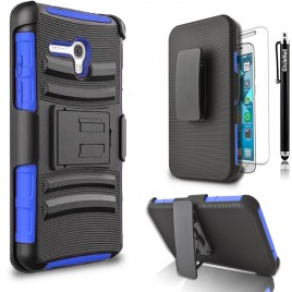 Alcatel OneTouch Fierce XL Case, Dual Layers [Combo Holster] Case And Built-In Kickstand Bundled with [Premium Screen Protector] Hybrid Shockproof And Circlemalls Stylus Pen (Blue)