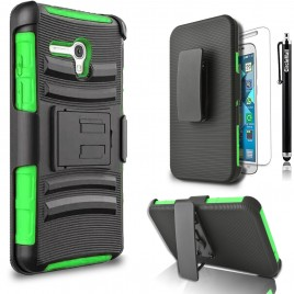 Alcatel OneTouch Fierce XL Case, Dual Layers [Combo Holster] Case And Built-In Kickstand Bundled with [Premium Screen Protector] Hybrid Shockproof And Circlemalls Stylus Pen (Green)