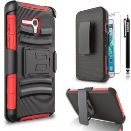Alcatel OneTouch Fierce XL Case, Dual Layers [Combo Holster] Case And Built-In Kickstand Bundled with [Premium Screen Protector] Hybrid Shockproof And Circlemalls Stylus Pen (Red)