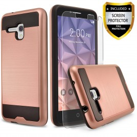 Alcatel OneTouch Fierce XL Case, 2-Piece Style Hybrid Shockproof Hard Case Cover with [Premium Screen Protector] Hybrid Shockproof And Circlemalls Stylus Pen (Rose Gold)