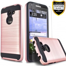 Alcatel Zip LTE Case, Alcatel A577VL Case, Alcatel A30 Case, Alcatel Kora Case, (Not For A30 Plus) Circlemalls 2-Piece Style Hybrid Shockproof Hard Case Cover With [Tempered Glass Screen Protector] And Touch Screen Pen (Rose Gold)