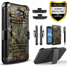 Alcatel Zip LTE Case, Alcatel A577VL Case, Alcatel A30 Case, Alcatel Kora Case, (Not For A30 Plus) Circlemalls [Combo Holster] Built-In Kickstand Bundled w/[Premium Screen Protector] And Stylus (Camo)