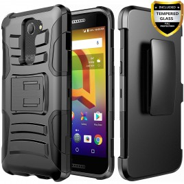 Alcatel Zip LTE Case, Alcatel A577VL Case, Alcatel A30 Case, Alcatel Kora Case, (Not For A30 Plus) Circlemalls [Combo Holster] Built-In Kickstand Bundled w/[Premium Screen Protector] And Stylus (Black)
