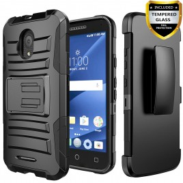 Alcatel IdealXcite Case, Alcatel Raven LTE Case, Alcatel Verso Case, Alcatel CameoX Case, Circlemalls [Combo Holster] And Built-In Kickstand With [Temerped Glass Screen Protector] And Stylus Pen (Black)