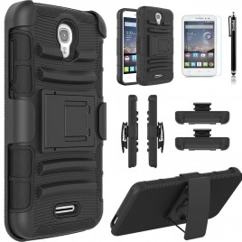 Alcatel OneTouch POP Astro Case, Dual Layers [Combo Holster] Case And Built-In Kickstand Bundled with [Premium Screen Protector] Hybrid Shockproof And Circlemalls Stylus Pen (Black)