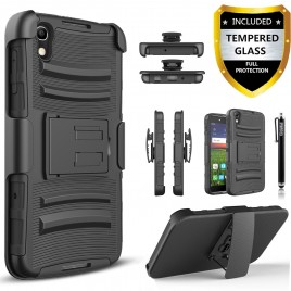 Alcatel Idol 4, Alcatel Nitro 4 Case, Dual Layers [Combo Holster] Case And Built-In Kickstand Bundled with [Premium Screen Protector] Hybrid Shockproof And Circlemalls Stylus Pen (Black)