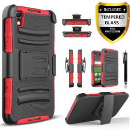 Alcatel Idol 4, Alcatel Nitro 4 Case, Dual Layers [Combo Holster] Case And Built-In Kickstand Bundled with [Premium Screen Protector] Hybrid Shockproof And Circlemalls Stylus Pen (Red)