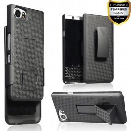 BlackBerry KEYone Case With Tempered Glass Screen Protector Included, Circlemalls Dual Layers [Combo Holster] With Built-In stand For BlackBerry KEYone (Black)