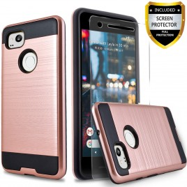 Google Pixel 2 Case, 2-Piece Style Hybrid Shockproof Hard Case Cover with [Premium Screen Protector] Hybird Shockproof And Circlemalls Stylus Pen (Rose Gold)