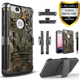 Google Pixel 2 Case, Dual Layers [Combo Holster] Case And Built-In Kickstand Bundled with [Premium Screen Protector] Hybird Shockproof And Circlemalls Stylus Pen (Camo)